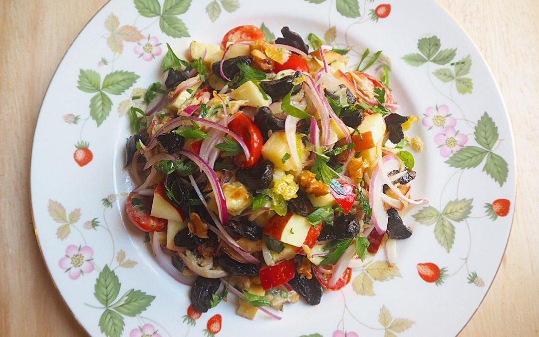 Salada de Bacalhau com Alho Negro
